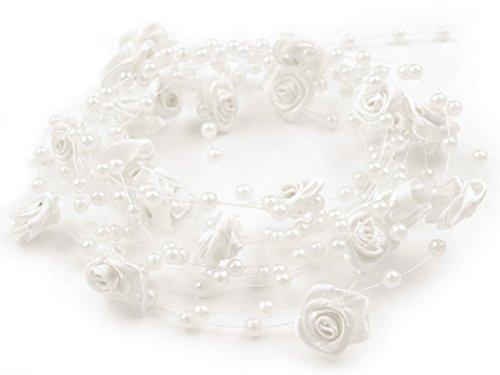 floristikvergleich.de 1 m Rosen Perlenband Perlenkette Perlengirlande Hochzeit Deko Perlen Tischdeko Rosen (Weiß)