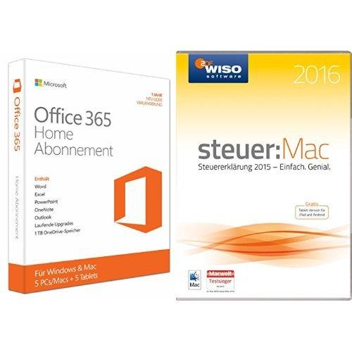 Microsoft Office 365 Home - 5PCs/MACs - 1 Jahresabonnement - multilingual (Product Key Card ohne Datenträger) + WISO steuer:Mac 2016 (für Steuerjahr 2015)