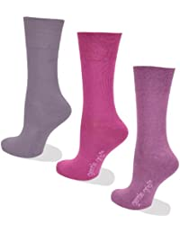 Womens Socks, Gentle grip for comfort, 3 Pairs of Plum colour socks, 4-8 UK, 37-42 EU, Light Hold honeycomb top, ideal elastic free Diabetic Socks