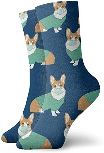 okstore1988 Womens Corgi in Scrubs Art gedruckt lustige Neuheit Casual Socken