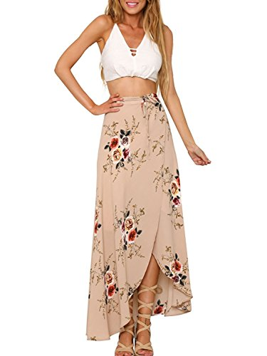 Minetom Femmes Eté Sexy Floral Impressions Taille Haute Côté Ouvrez Maxi Jupe Longue Bohème Style Asymétrique Robe Skirt Plage Rose
