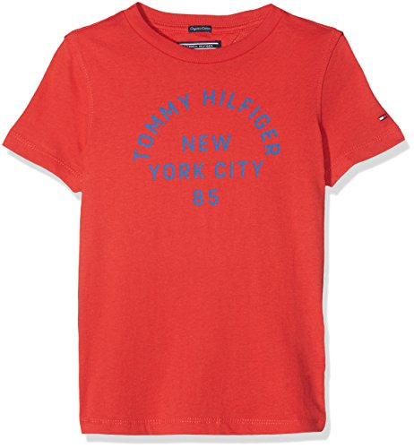 Tommy hilfiger ame bright graphic tee s/s, t-shirt bambino, rosso (flame scarlet 610), 98 (taglia produttore: 3)
