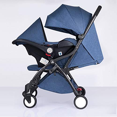 Korb Babywagen Ultraleicht tragbar Kind Automatische Autosammlung falten Kann im Flugzeug sein Zwillingswagen,blue,79 * 48 * 100cm -