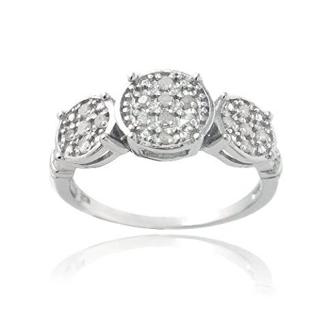Sterling Silver 1/5Ct Diamond Three Circle Promise Ring - US: 7 ; UK: N