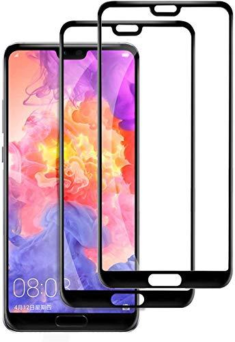 Sameriver Panzerglas Schutzfolie für Huawei P20 Pro, [2 Stück] 9H Härtegrad Displayschutzfolie Vollständige Abdeckung HD Ultra-Klar für Huawei P20 Pro - Schwarz