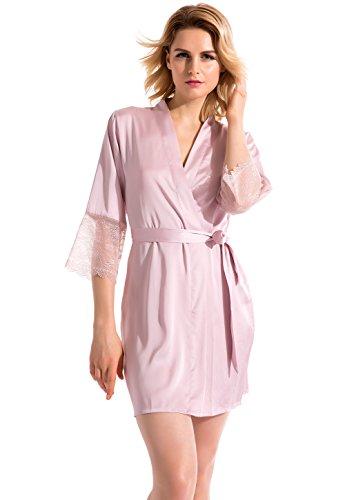 Vislivin Indumenti da notte della biancheria da bagno di stile del kimono del raso delle donne Pink