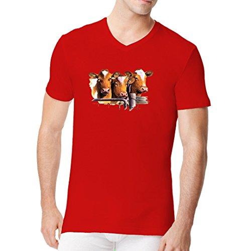 Fun Männer V-Neck Shirt - Guernsey Kühe am Zaun by Im-Shirt Rot