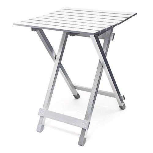 Relaxdays tavolo pieghevole in alluminio, 49.5 cm, argento