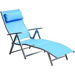 Tumbona Inclinable Plegable de Acero con Almohada para Piscina Playa y Camping Hamaca Ajustable a 5 niveles (Azul)