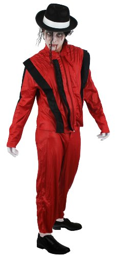 Michael Jackson Zombie Thriller Red Outfit for Adults - 4 Sizes S to XL