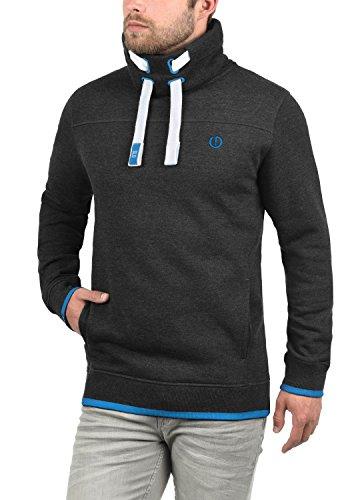 SOLID Benjamin Herren Sweatshirt Pullover Sweater mit Stehkragen aus hochwertiger Baumwollmischung Dark Grey Melange (8999)