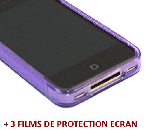 Ultraflache weiche Schutzhülle APPLE IPHONE 4 [Le S Hybrid] [Schwarz] von MUZZANO + 3 Display-Schutzfolien UltraClear + STIFT und MICROFASERTUCH MUZZANO® GRATIS - Das ULTIMATIVE, ELEGANTE UND LANGLEBI violett + 3 displayschutzfolien