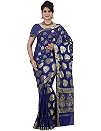 Mimosa Women's Chiffon Saree With Blouse Piece (2101-Nvy,Navy Blue,Free Size)