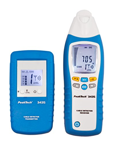 PeakTech 3435 - Leitungssuchgerät mit Sender & Empfänger für Kurzschlüsse, Sicherungen, metallische Rohranlagen, Spannungsmesser, Leitungsfinder in Wänden, Decken, Böden - Empfangstiefe: bis 2 Meter