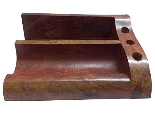 Indian Handicrafts Export Kartique Hand Made Wooden Desk Organiser with 3 Pen Holder -