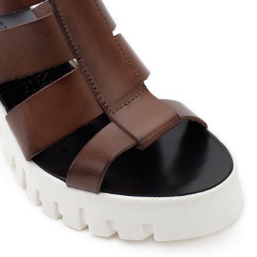 CAFè NOIR HR422 nero scarpe donna sandali tacco plateaux cinturino Testa di Moro