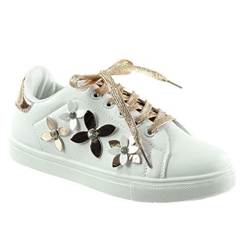 Angkorly Damen Schuhe Sneaker - Tennis - Blumen - Strass - Glänzende Flache  Ferse 2.5 cm