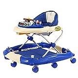 Lauflernhilfe Laufhilfe,Musik Schaukelstuhl Großem Esstisch Höhenverstellbar Zusammenklappbar Anti-Rutsch Funktion Babyschaukel Auto Baby walker (Farbe : Blau)