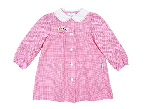 Siggi grembiule asilo bambina bianco/rosa a quadri, ottima qualità, con merletto, tasche laterali e polsini - art. 3056 (4 anni | 104 cm, rosa)