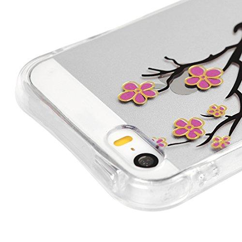 MAXFE.CO TPU Silikon Hülle für iPhone SE / iPhone 5 5S Handyhülle Schale Etui Protective Case Cover Rück mit Blaue Rosen Design Shatter-resistant protection Skin Pfirsichblüte