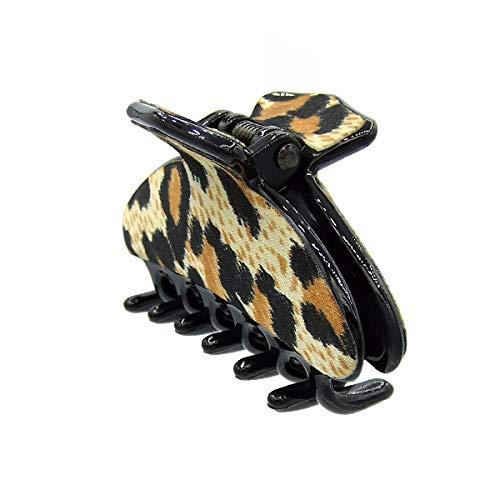 44 – 309 – Pince pour cheveux noire cm 6 x 3,5 revêtement Satin animalier – Pinces pour Cheveux Noir
