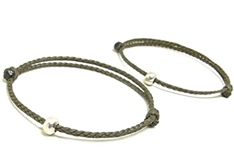 2 Pièce BUSABAN Asiatique 100% Fait Main Bracelet Argent 925 Perles Double Gris Ficelle de Cire