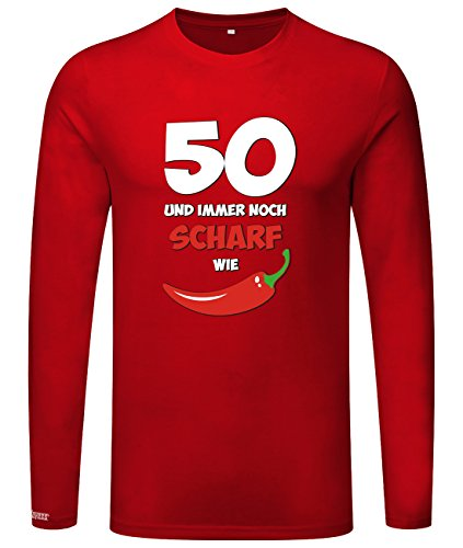50 und immer noch scharf wie Chilli - Geburtstag - Herren Langarmshirt Rot