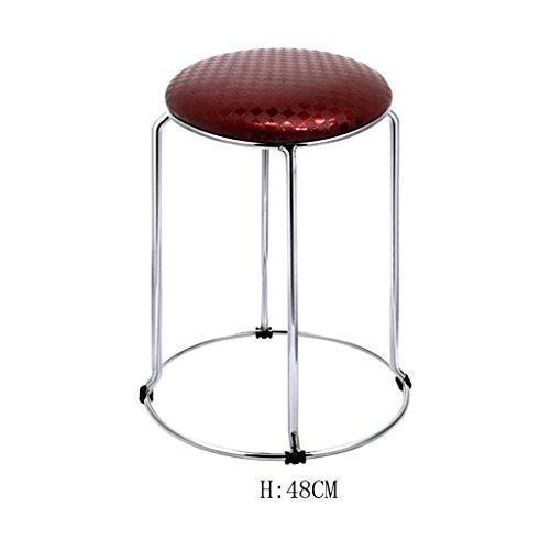 LonVe Barhocker,Hocker Moderne Küche Hocker mit Metall Beine High Hocker Bar Hocker PU Seat Frühstück Bar, Edelstahl Vier Ecke Hocker Füße, Ring Höhe 36-48cm, 5 - Fuß-ring-barhocker
