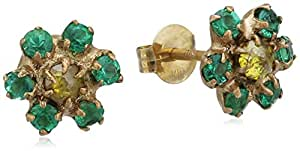 Cherry Brown 10 ct Yellow Gold Green Emerald and White Diamond Flower Earrings