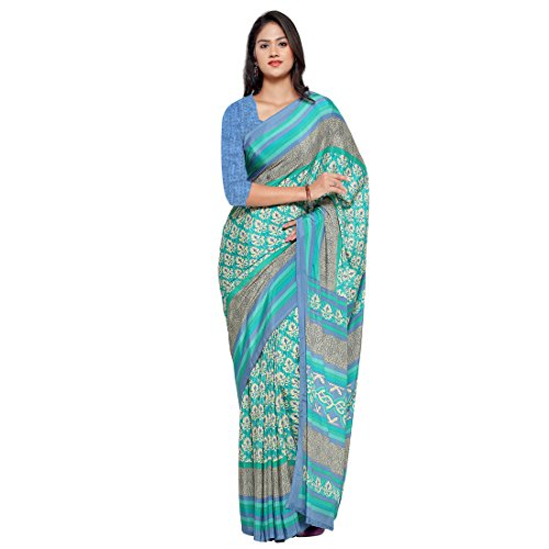 Ligalz Women's Turquoise And Beige Crepe Silk Saree (saree for women latest...