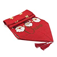 Fancy Dress VIP Express Festive Christmas Dinner Table Runner Cover Cotton Linen Tablecloth Santa Claus Party Decoration