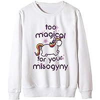 Sudaderas Mujer Otoño Invierno Elegantes O Cuello Manga Largo Unicornio Jersey Casuales Moda Joven Sencillos Sweatshirts