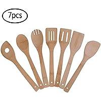Juego de utensilios de cocina de bambú, 7 unidades de cucharas y espátula de madera