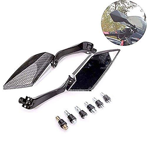 NATGIC 1Paio Moto specchietti retrovisori Prisma specchi Posteriore Lato Motore specchi Universale per Moto da Strada Sport Bike Scooter Cruiser-Nero