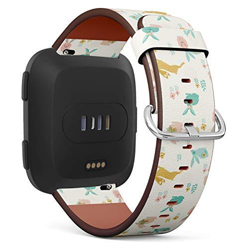 Kompatibel mit Fitbit Versa Lederarmband, Armband mit Schnellverschluss-Stiften (Bunnies Easter)