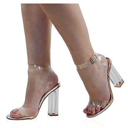 ESSEX GLAM Scarpa Donna Sintetica Sandalo Tacco Trasparente Perspex Peep Toe Lacci Oro metallizzato