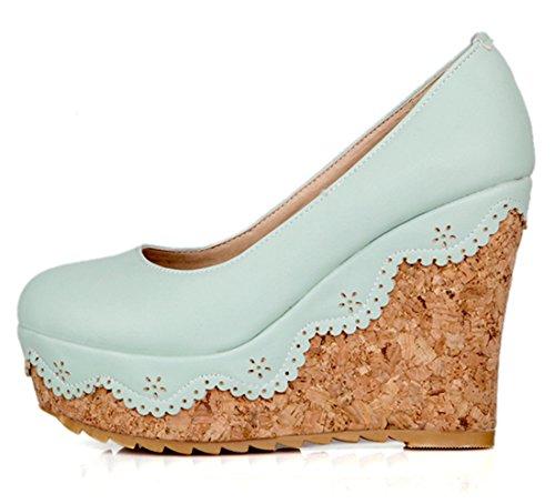 YE Damen Wedges High Heels Plateau Geschlossen Runde Zehe Pumps mit Keilabsatz Schuhe Blau