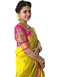 Calendar Women's Cotton Silk Saree With Blouse Piece (Cs1418_New Saree_Yellow)
