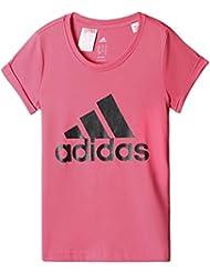 adidas YG W B Logo Tee - Camiseta para niña, color rosa / negro, talla 170