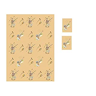 Farm Cottage Brands Set of Clay Pigeon Shooting present and birthday wrapping paper & gift tags - two sheets of wrapping paper and two tags