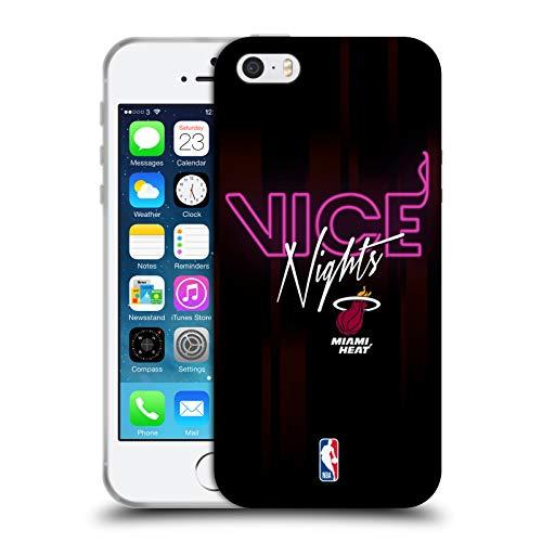 Head Case Designs Offizielle NBA Heat Vice Nights 2018/19 Team Slogan Soft Gel Hülle für iPhone 5 iPhone 5s iPhone SE - Nba-team Iphone