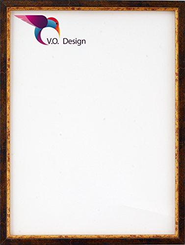 Bilderrahmen Nepal - Grau-Braun mit Goldkante 60x90cm 90x60cm hier mit entspiegeltem Kunstglas