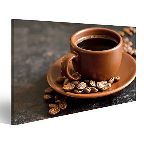 islandburner Bild Bilder auf Leinwand Kaffee oder Espresso und Kaffeebohnen in Einer braunen Tasse Wandbild, Poster, Leinwandbild ENF - Espresso Leinwand