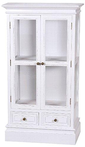 Casa Padrino Landhausstil Vitrine/Vitrinenschrank Antik Weiß 69 x 35 x H. 127 cm - Zweitürige Glasvitrine mit 2 Schubladen im Landhausstil