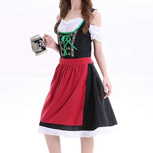 Best-Price Midi Dirndl Bine in Dunkelblau traditionell, Frauen Kleid Sexy Dessous Beer Maid Kleidung Festival Kleid Cosplay Kostüme, Rot, 2XL ()