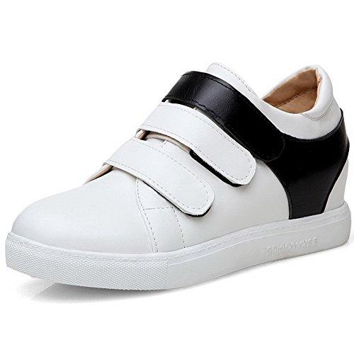VogueZone009 Femme Couleurs Mélangées à Talon Correct Velcro Rond Chaussures Légeres Blanc