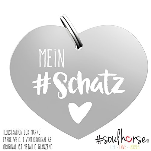 Pferde Glücksmarke #Mein Schatz Silber – Gücksbringer - Soulhorse Anhänger Halfter, Trense, Zaumzeug, Sattel, Vorderzeug