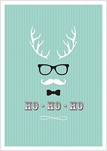 (Erhältlich im 1er 4er 8er Set: Ho, Ho, Ho Moderne Coole lustige Hipster Weihnachkarte Klappgrußkarte Gutschein mit Hirschgeweih, Brille, Fliege und Schnurrbart in Türkis mit Umschlag (8))