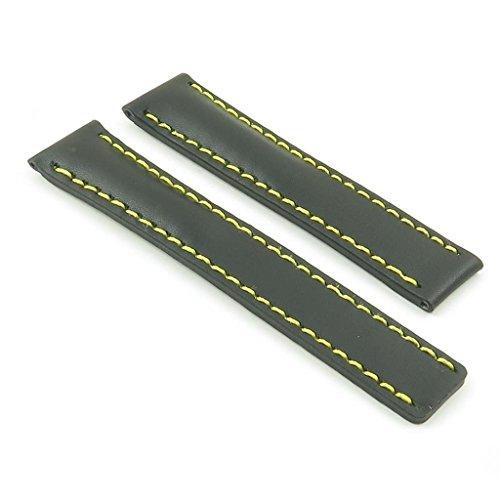 dassari G5schwarz W/gelb Naht Italienisches Leder Armbanduhr Band für Tag Heuer W/Deployment Größe 22mm 22/18