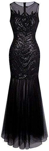 Angel fashions Damen Art Deco Paillette Inspiriert Meerjungfrau Bodycon Abend Kleid Abschlussball XLarge